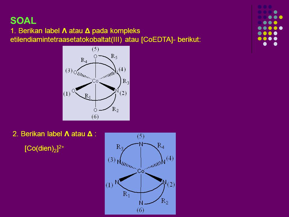 SOAL 1. Berikan label Λ atau Δ pada kompleks etilendiamintetraasetatokobaltat(III) atau [CoEDTA]- berikut: